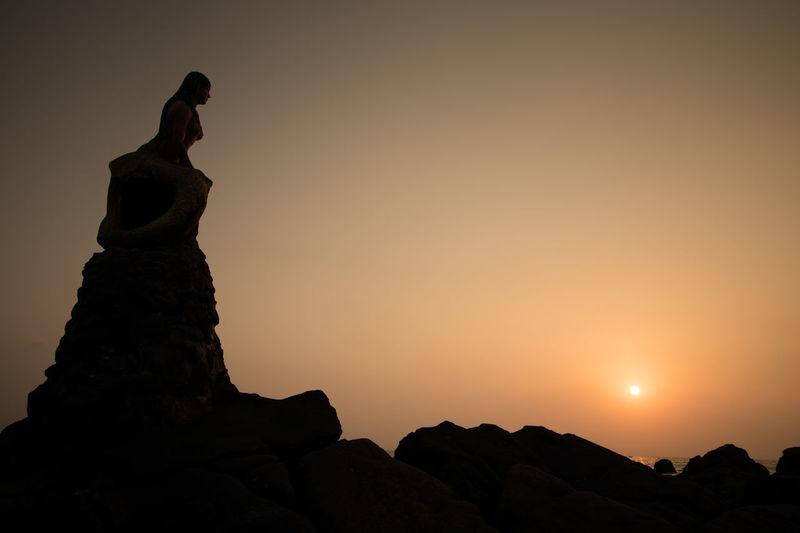 Beach Ngapali Ngapali Beach Outdoors Rock Sea Sky Statue Sunset