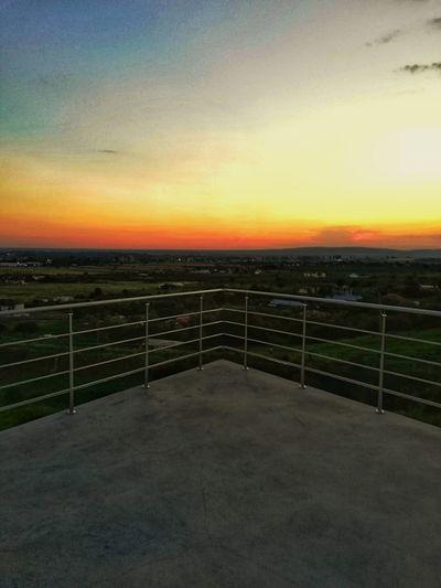 Sunset Clear Sky Sea Railing Sky Landscape Calm