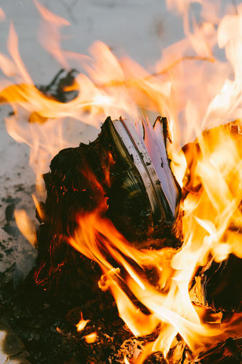 Close-Up Of Books Burning