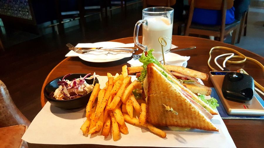Having a Tea Break Food And Drink Ready-to-eat Prepared Potato French Fries Restaurant Sandwiches