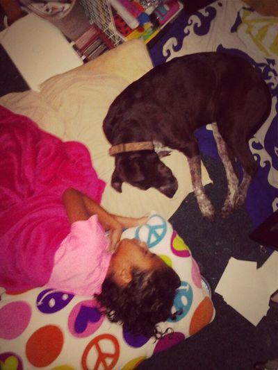 Yesterday night sis sleeping with dog. :)