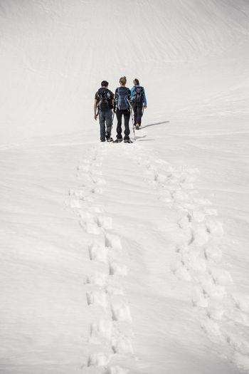 Rear view of trekkers on snow