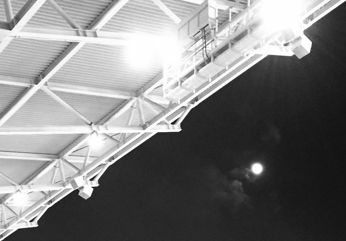 Blackandwhite Moon Night Leipzig Zentralstadion 2015  Iphone6 Geometry