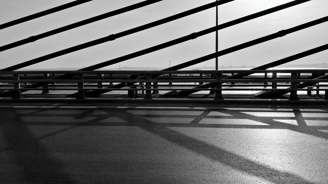 Smartphonephotography Tunisia <3 Transportation Shadow Bridge - Man Made Structure Connection Day Architecture Built Structure Outdoors Sunlight Sky No People Nature City Sun ☀ Street Architecture Taking Photos Black And White Photography Blackandwhite Beauty In Nature EyeEm Full Frame Randomshot