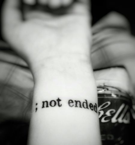 Tattoo Semicolonproject416 Black And White
