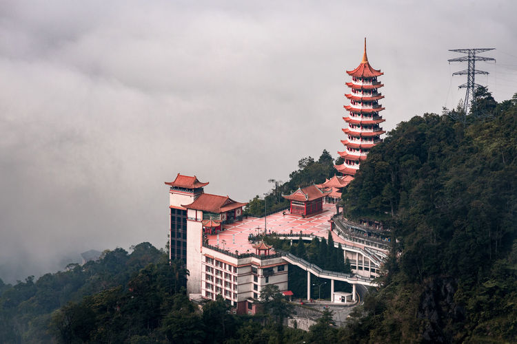Low angle view of buddhist temple and trees against sky in a jungle at genting highland, malaysia