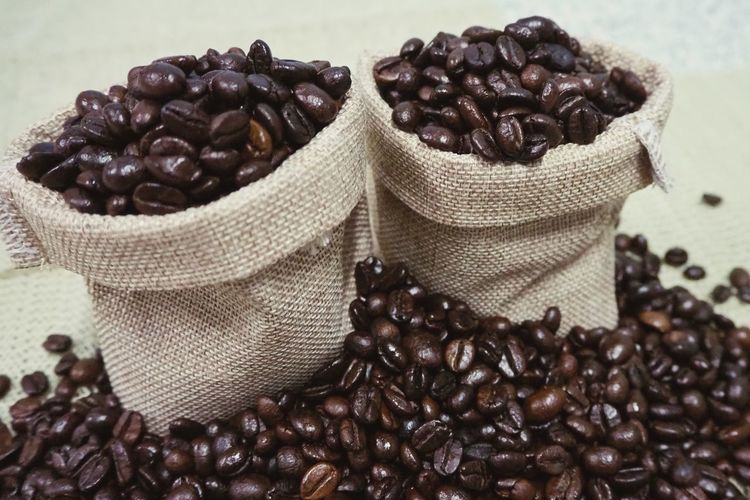 sack of coffee beans Coffee Cafeine Raw Stack Drink Hot Espresso Black Brown Sack Close-up Food And Drink Coffee Bean