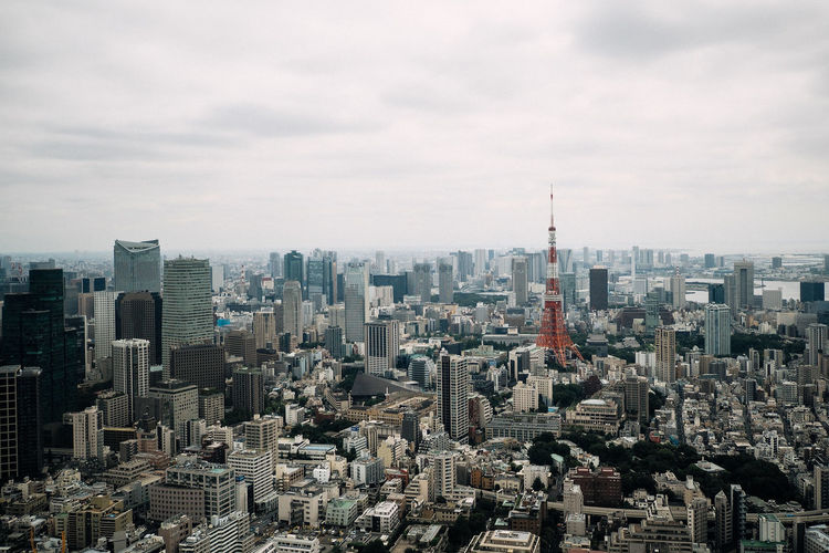 Aerial view of tokyo tower in city