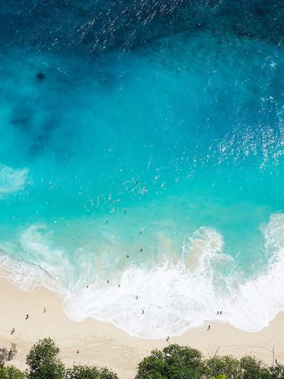 High angle view of beach against blue sky
