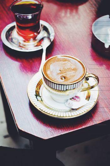 High Angle View Of Turkish Tea And Coffee On Table