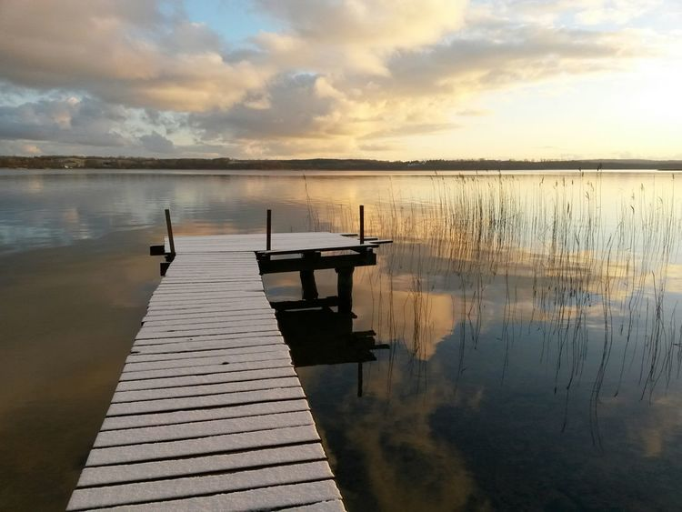 Landscape Nature Water Reflections Light And Shadow Winter Clouds Silence Tollensesee