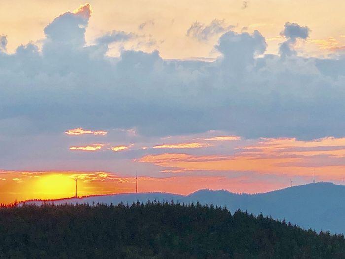 Abendstimmung über dem Schwarzwald Cloud - Sky Sky Beauty In Nature Scenics - Nature Sunset Tranquility Tranquil Scene Tree Mountain No People Landscape Land Outdoors Idyllic Orange Color