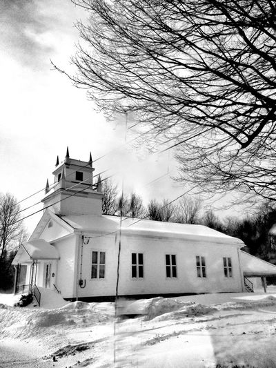 Winter Countryside Drivebyphotography On The Road My View Winter Wonderland Blackandwhite Church Eye4photography
