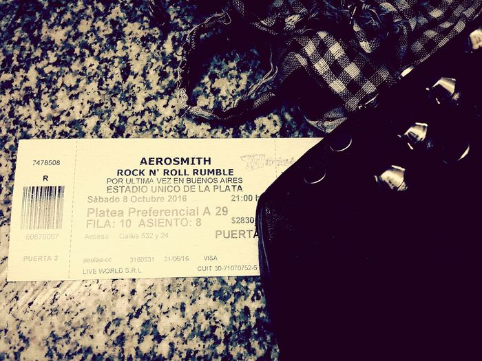 Rock 'n' Roll Rumble Close-up Concert Tickets Bnw Monochrome Black & White Monochrome Photography Eyeem Photography Arrangement Rock N' Roll  Scarf Studded Bag Hard Rock AEROSMITH❤ Black And White Friday