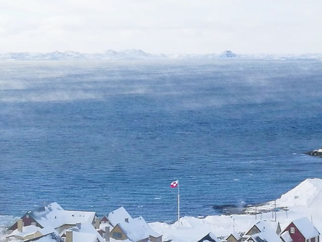 Nuuk wiew Nuuk View Steaming Ocean Cold Greenland Water Sea High Angle View Sky Architecture Landscape Snow Covered