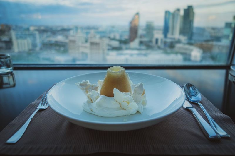 Poached pear skyline Kitchen Utensil Food And Drink Food Eating Utensil Plate Freshness Focus On Foreground Fork Sweet Food Spoon Close-up No People Table Sweet Indoors  Dessert Ready-to-eat Architecture Fruit Healthy Eating