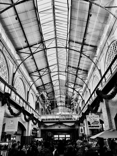 """""""Sky Light View"""" The ornate skylight and ceiling above the interior courtyard of the San Francisco Ferry Building on a busy holiday weekend. Skylight Skylights Ferrybuilding San Francisco Embarcadero Courtyard  Architecture Blackandwhite Blackandwhite Photography"""