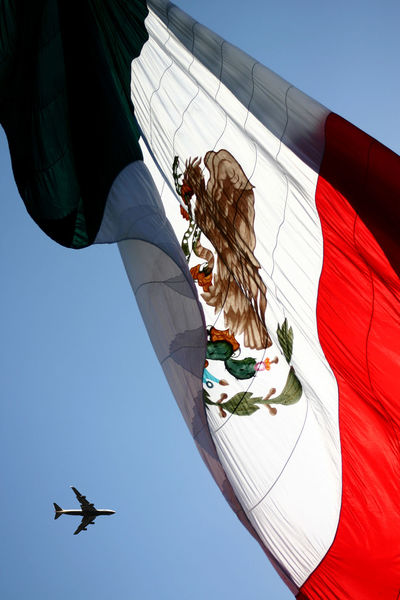 Mexican Flag Blue Day Flag Low Angle View Mexican Mexico Outdoors Showcase July Sky