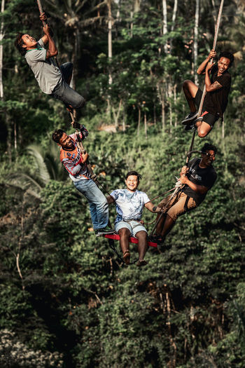 People hanging on rope in forest