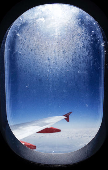 flight composition Flying High From My Point Of View Postcode Postcards Vapor Airplane Airplane View Airplane Wing Close-up Condensation From An Airplane Window Indoors  Moisture Round Shapes And Forms Sky
