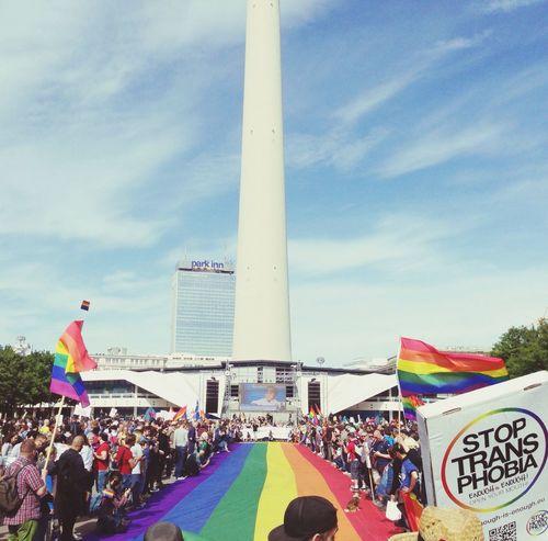 Stop transphobia! Berlin Gay Human Rights Rainbow