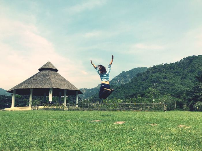 independent Full Length Arms Raised One Person Sky Day Real People EyeEmNewHere Outdoors Handstand  Energetic Architecture Lifestyles Tree Grass Young Adult Young Women People