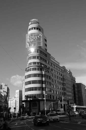 Plaza Callao Schweppes Gran Vía Madrid Building Exterior Architecture Built Structure City Car Land Vehicle Transportation Road Outdoors City Life Sky Day No People Street Photography Blackandwhite Hanging Out Check This Out Taking Photos Enjoying Life Streetphotography Travel Destinations EyeEm Best Shots