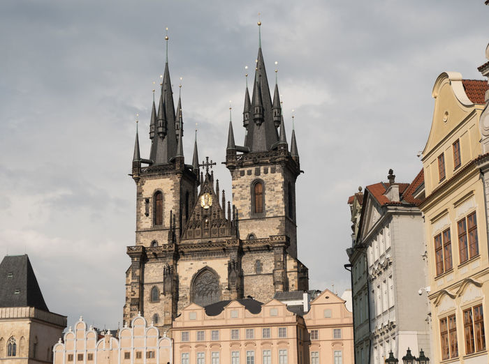 View of Church of Our Lady Before Tyn (Chram Matky Bozi pred Tynem) from Old Town Square, Prague Czech Republic. Iconic black pointed towers of the medieval Church of Our Lady Before Tyn in Prague. Church Of Our Lady Before Tyn Prague Prague Czech Republic Prague♡ Architecture Bell Tower Building Exterior Built Structure Cloud - Sky Day Low Angle View No People Outdoors Place Of Worship Religion Sky Spirituality