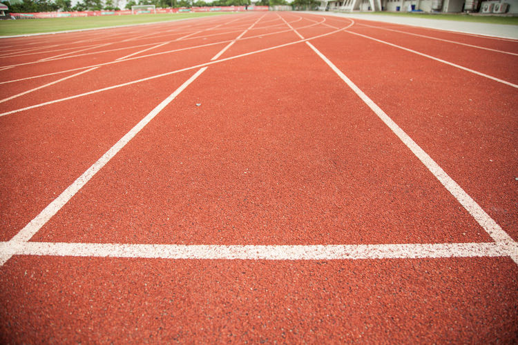 Close-up of empty sports track
