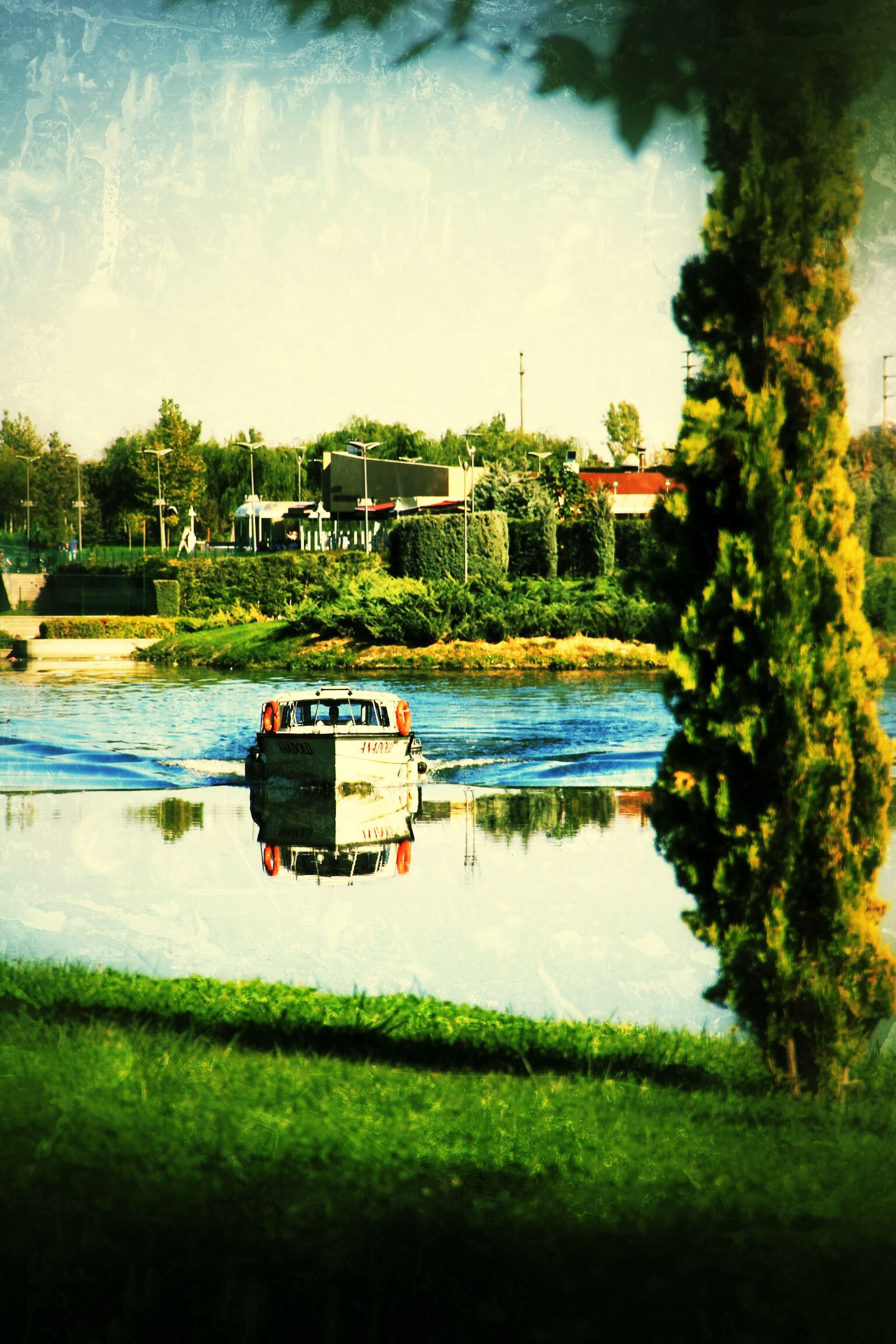 water, transportation, mode of transport, tree, nautical vessel, grass, boat, lake, reflection, green color, moored, river, nature, growth, sky, tranquility, day, tranquil scene, plant, outdoors