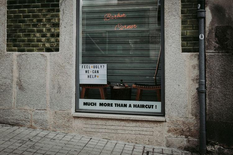 Text on glass door