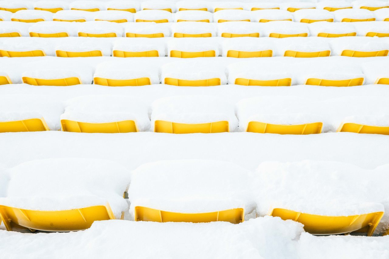Row of yellow chairs