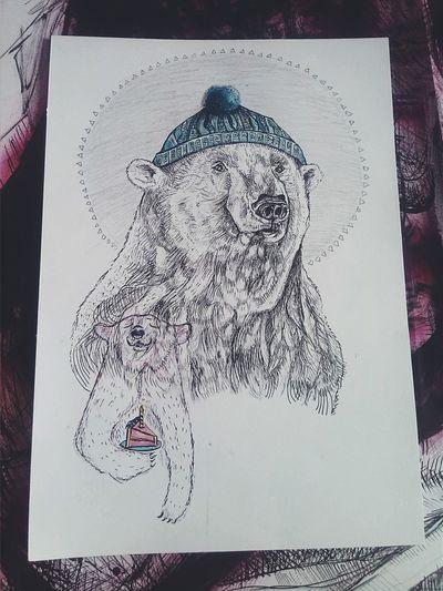 Illustration Drawing Ink Bear Birthdaycard DIY