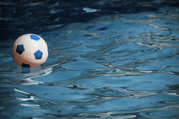 High angle view of soccer ball in water