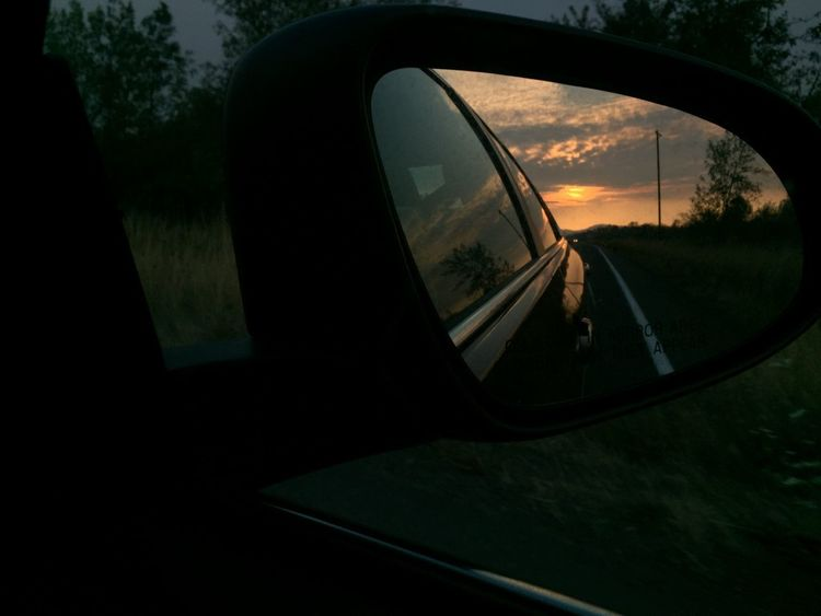 dark mirrored sunset Car Close-up Land Vehicle Mode Of Transport Nature Reflection Road Side-view Mirror Sky Sunset Transportation Tree Vehicle Mirror Window