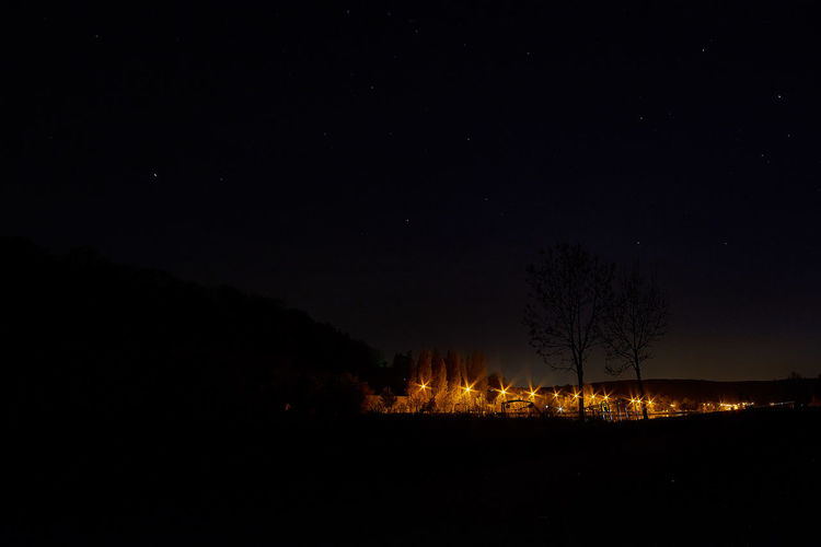 Night on river Moselle Night Nature Light Sky Landscape Tree Illuminated Tranquility Dark Long Exposure Astronomy Astrophotography Majestic Scenics Beauty In Nature No People Idyllic Tranquil Scene Outdoors Silhouette Star - Space Bare Tree Starry