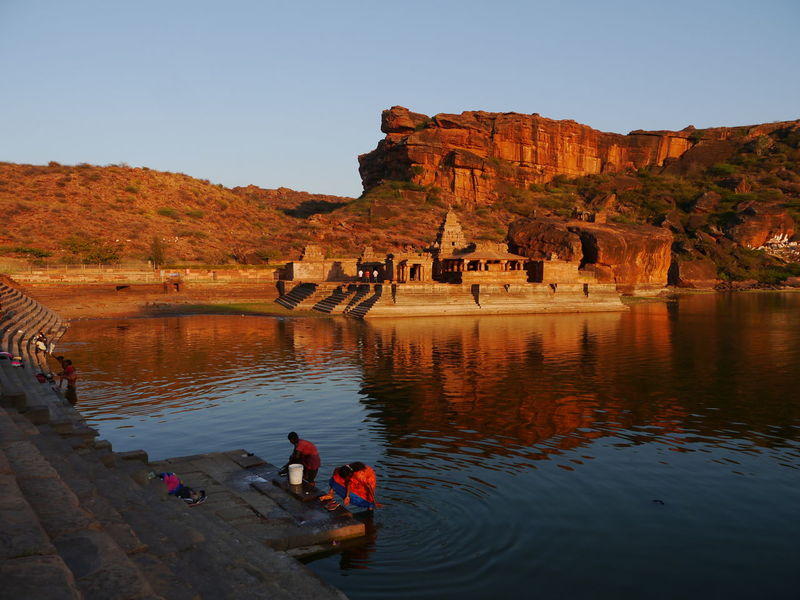 Badami Badami India India Incredible India Karnataka Sunset Lake View Evening Time Travel Photography Travel Destinations Water Reflections