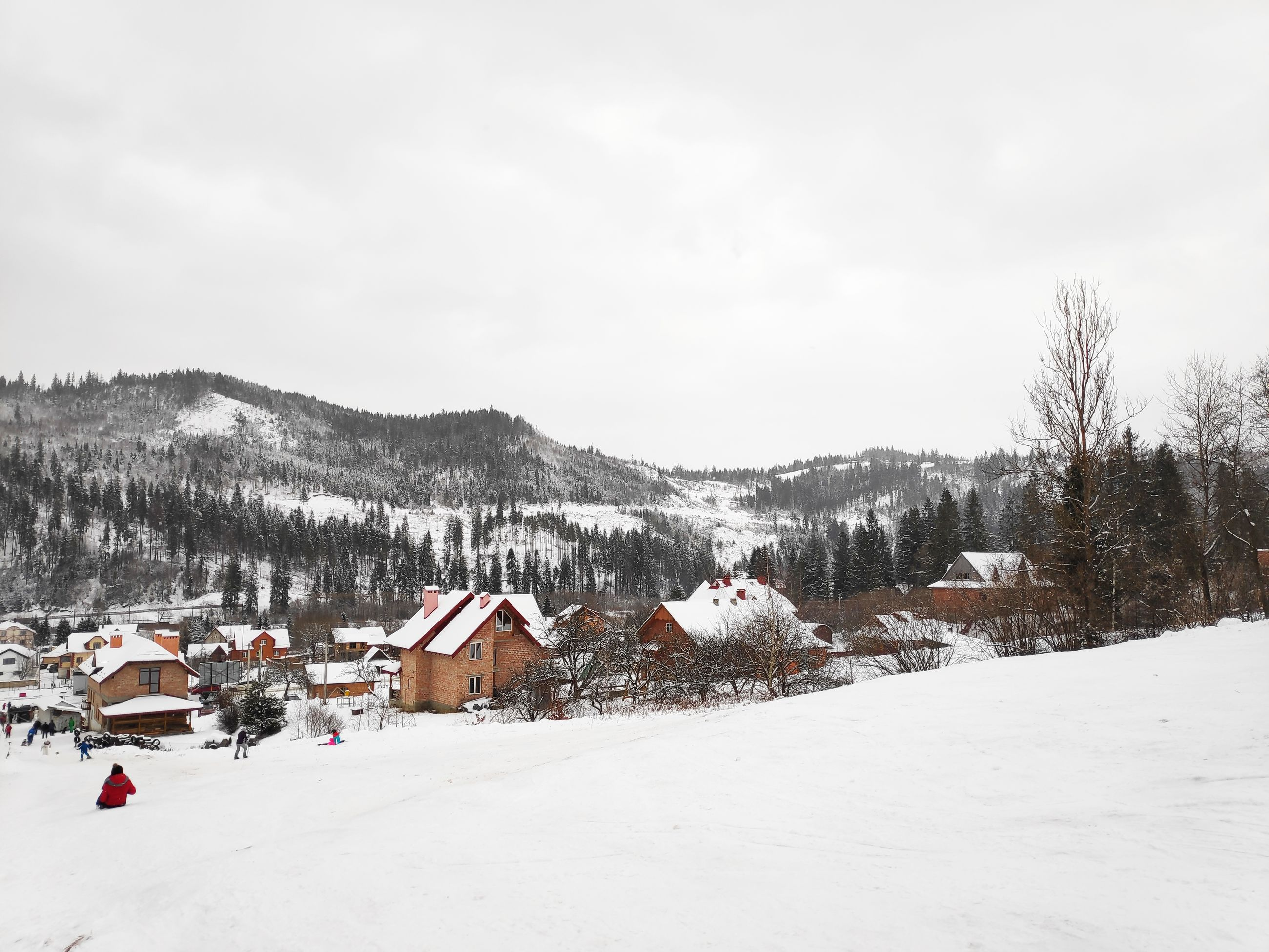 winter, snow, cold temperature, architecture, building exterior, sky, building, built structure, tree, house, nature, landscape, plant, field, scenics - nature, day, environment, mountain, cloud - sky, outdoors, no people, cottage, snowcapped mountain