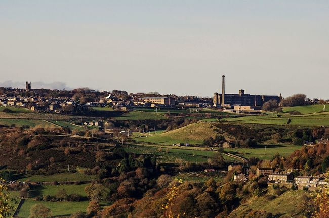 Queensbury Halifax Bradford Yorkshire Nestled Hillside POV View Chimmney Chimney Mill Black Dyke Mill Outdoors Agriculture No People Rural Scene Day Sky
