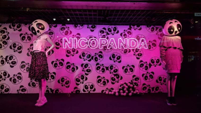 NICOPANDA Window Display at Macy's NYC NicoPanda Window Display Macys New York City New York Night Nightphotography Night Photography Neon Pink And Black Pink Color Pink Travel Travel Photography Travel Blogger Good Times Followme Pixelxl2 Pink Color