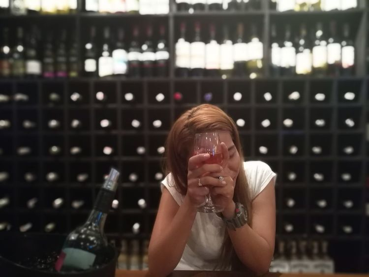 Wine Moments let me hide it for while.. Wine Wine Glass Bar Redwine Chillin' Indoors  One Person Adults Only One Woman Only Adult Only Women People Close-up Day