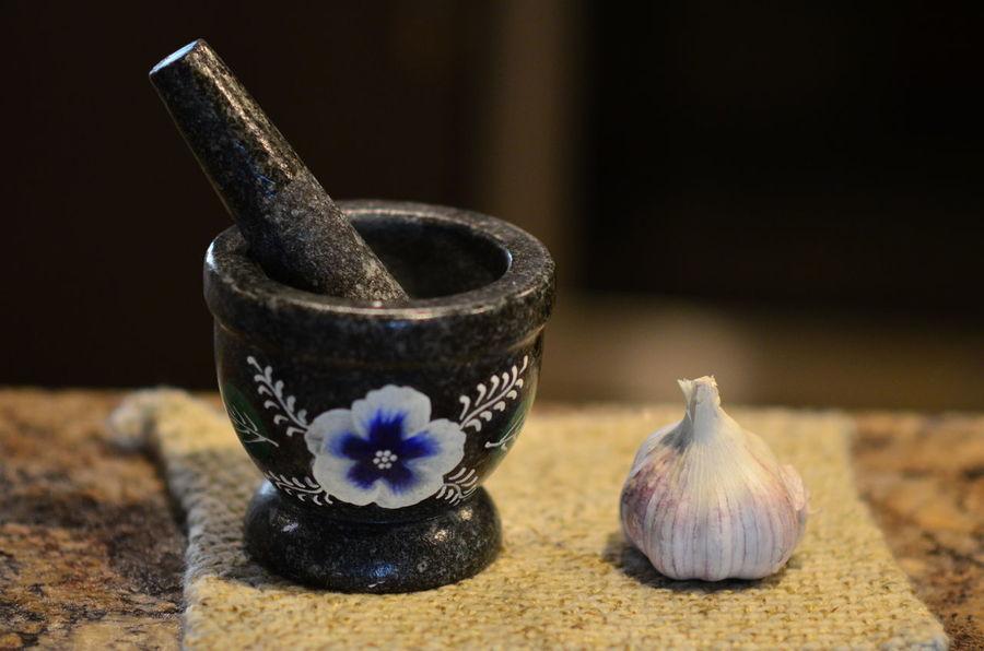 We love garlic :D Close-up Crush Garlic Bulb Indoors  Kitchen Motar Motar And Pestle No People Painted Flower Pestle