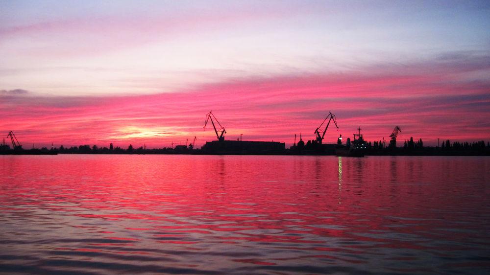 Sunset Sky River Dnieper Kherson Ukraine Sun Evning City City At Night