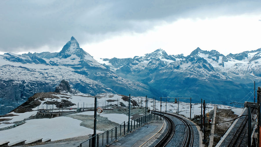 Scenic View Of Snowcapped Matterhorn Against Cloudy Sky