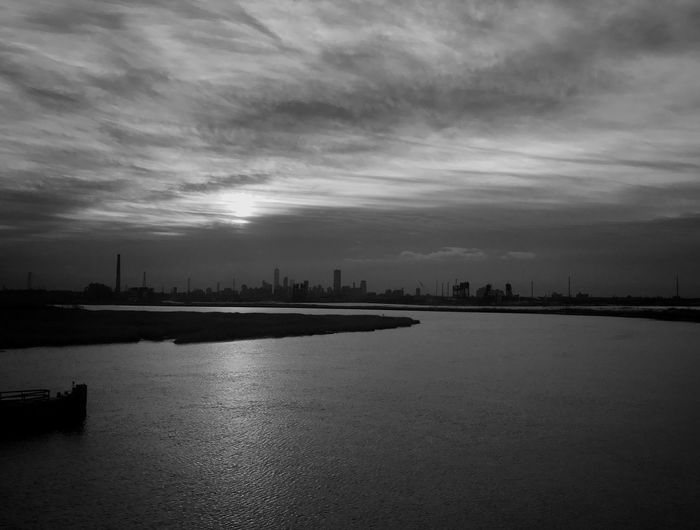 City Light River Waterfront Outdoors Nature No People Day Water Sky Blackandwhite