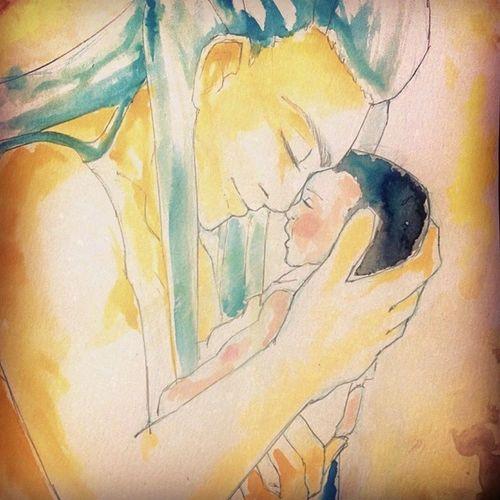 Figlia del Sole Fioresole Fiaba Watercolour Acquerelli draw disegno dolcezza tenerezza fatheranddaughter OC originalcharacter mangaitaliano manga