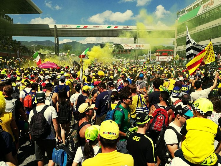 Match - Sport Competition Men Adult Day Women People Fan - Enthusiast Outdoors Real People Lifestyles Sky Yellow Large Group Of People Crowd Togetherness Adults Only Tuscany Mugello Race Bike Paint The Town Yellow