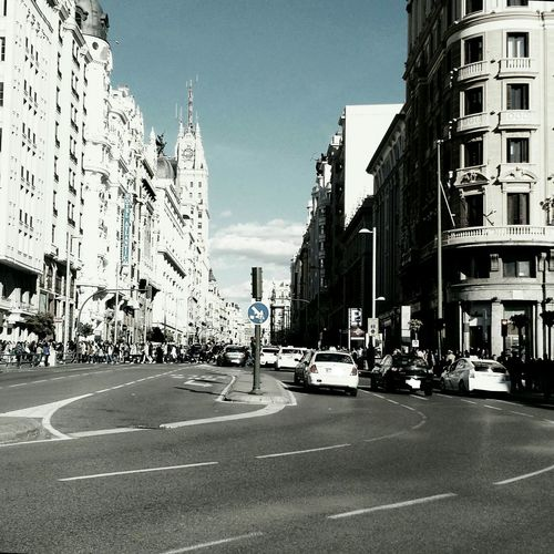 City Street Buildings Architecture Granviamadrid Madrid Spaın