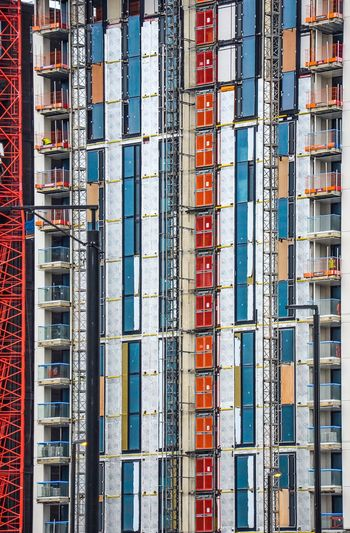 Façade Block Façade Façade In Construction Building Site Construction Large Group Of Objects Backgrounds Abundance In A Row Arrangement Variation Multi Colored Full Frame Day Architecture