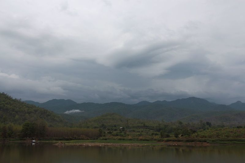 Landscape Mountains Lake View Calm Reflections Relaxing Outdoors No People Nature Rainy Days Clouds Sky And Clouds Skyporn Sky_collection in North Thailand South East Asia